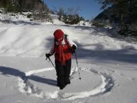 Meditatives Schneetreten