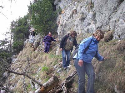 Auf dem nicht ganz ungefährlichen Abstieg vom Gipfel